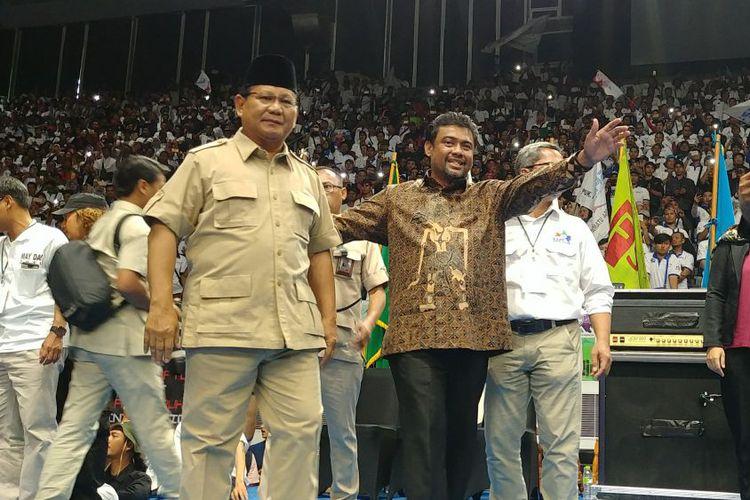 Prabowo Subianto dalam peringatatan Hari Buruh Internasional di Istora Senayan Jakarta Selasa 1 Mei 2018
