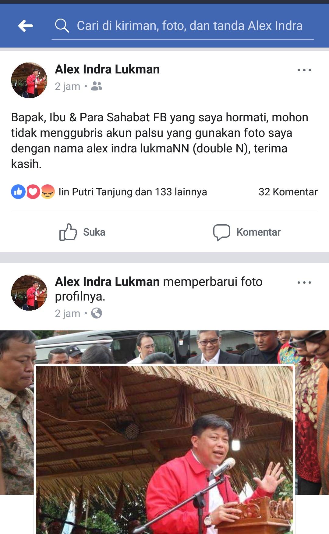 Anggota DPR RI Alex Indra Lukman memosting pada akunnya untuk tidak menggubris akun ganda.