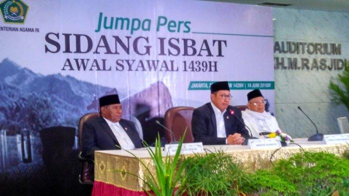 Sidang Isbat penentuan 1 Syawal 1439 Hijriah oleh Kementerian Agama RI di Jakarta, Jumat 14 Juni 2018. Foto : Tribun