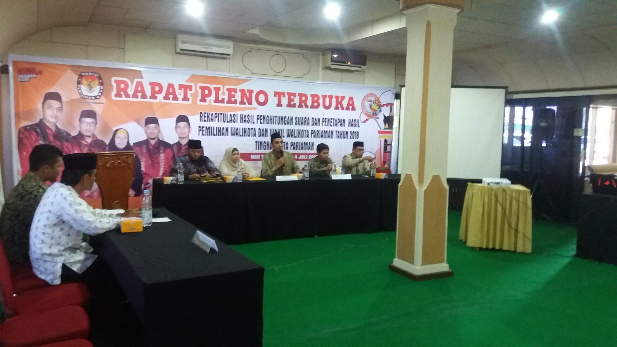 Rapat Pleno Rekapitulasi Suara Pilkada Kota Pariaman, Rabu 4 Juli 2018. Foto : Rizki Pratama