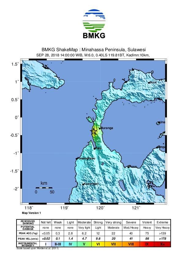 Gempabumi M 5,9 Skala Richter (SR) di Donggala, Sulawesi Tengah.