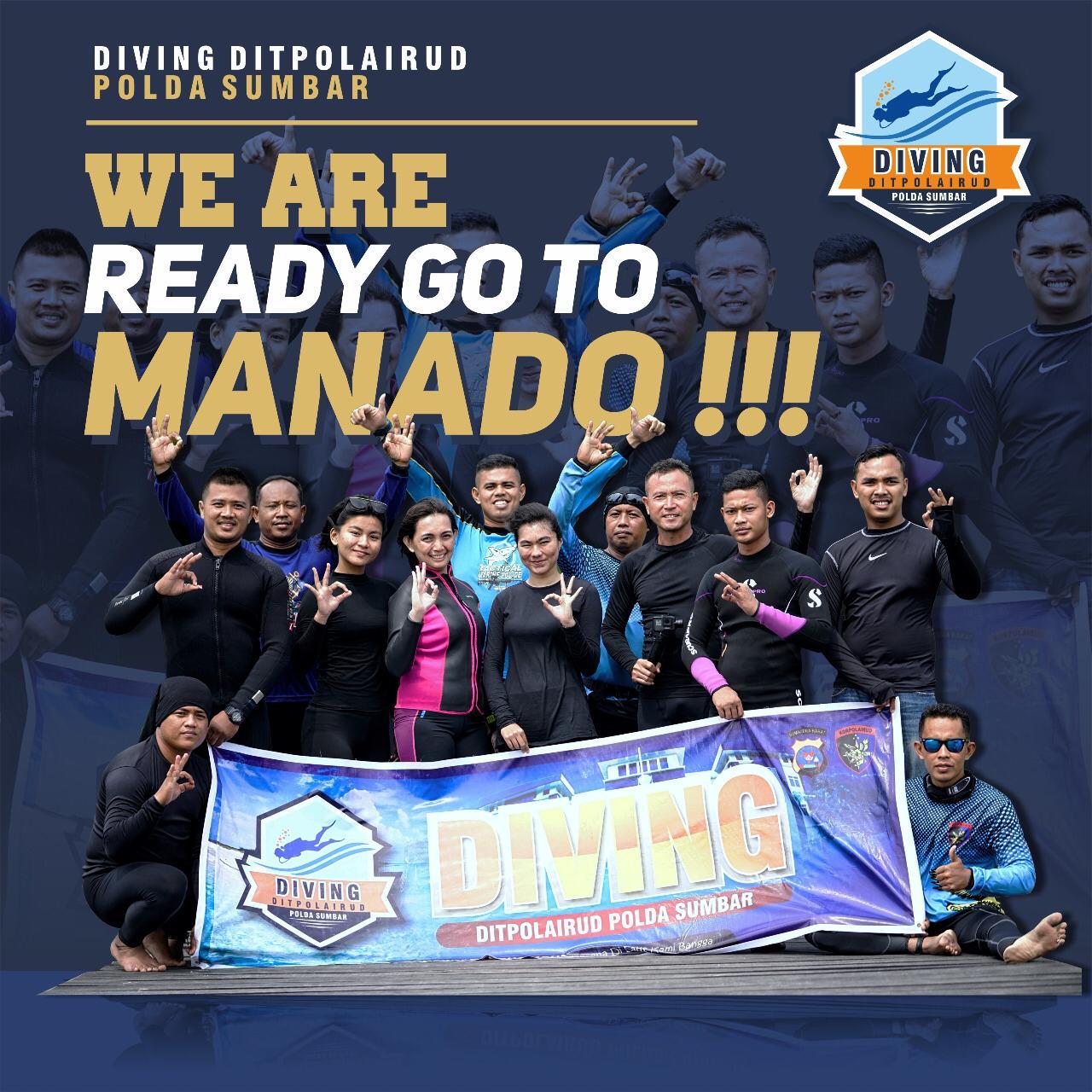 Para penyelam Ditpolairud Polda Sumbar saat latihan di perairan terbuka jelang pemecahan Rekor Dunia Selam Guinness World Records di Manado, Sulawesi Utara