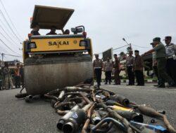 Polres Solok Kota Musnahkan Barang Bukti 184 Knalpot Modifikasi