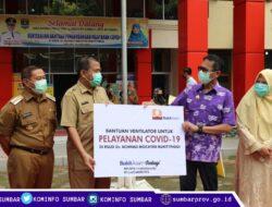 Gubernur Salurkan Bantuan Ventilator Bukit Asam dan Wardah ke RSAM Bukittinggi