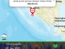 Gempa Magnitudo 5,8 Guncang Bengkulu, Tidak Berpotensi Tsunami
