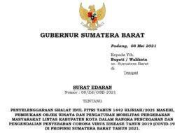 Gubernur Sumbar Rilis SE Penyelenggaraan Hari Raya Idul Fitri