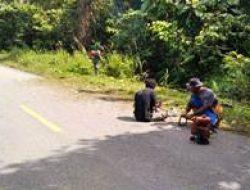 Warga dan Satgas TMMD Laksanakan Pembabatan Rumput Jalan Raya